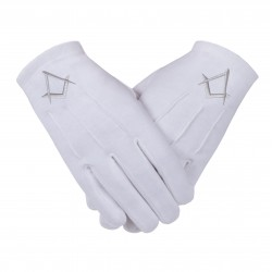 """Freemason Masonic Gloves in Cotton with Silver S & C """