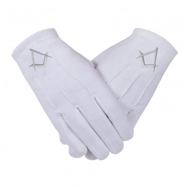 Freemason Masonic Gloves in Cotton with Silver S & C