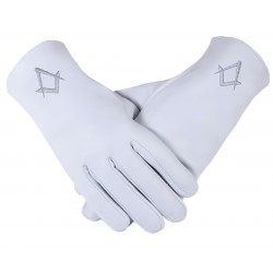 Freemason Masonic Gloves In Real Kid Leather With Silver S & C