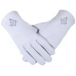 Freemason Masonic Gloves In Real Kid Leather With Silver S C & G
