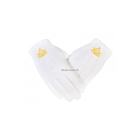 Freemasons Masonic Cotton Gloves with Past Master SC&G in Gold Embroidery