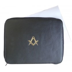 Masonic Lodge Freemasons Certificate wallet in REAL LEATHER Printed S and C in gold
