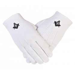 Freemasons Masonic Cotton Gloves in Black SC&G CPI