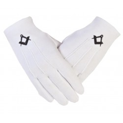 """Freemason Masonic Cotton Gloves in Black S & C CPI """