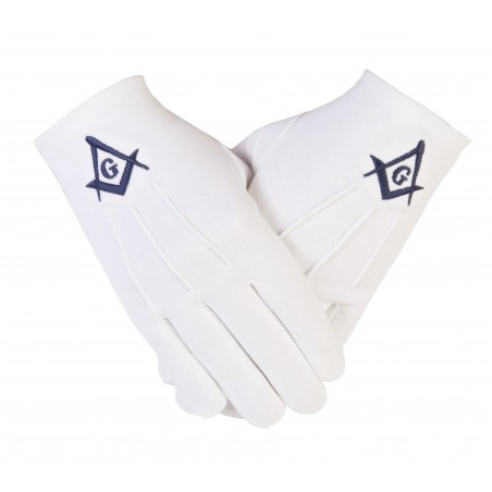 Freemason Masonic Gloves in Cotton with Blue S C & G
