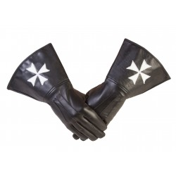 Cavalieri di Malta Maltese Cross Masonic Gauntlets in vera pelle