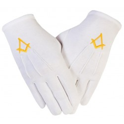 Freemason Masonic Gloves in Cotton with Blue Sq & C