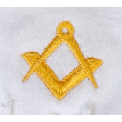 Freemason Masonic Cotton Gloves in Gold S & C CPI