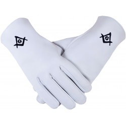 Freemason Masonic Gloves In Real Kid Leather With Black S C & G