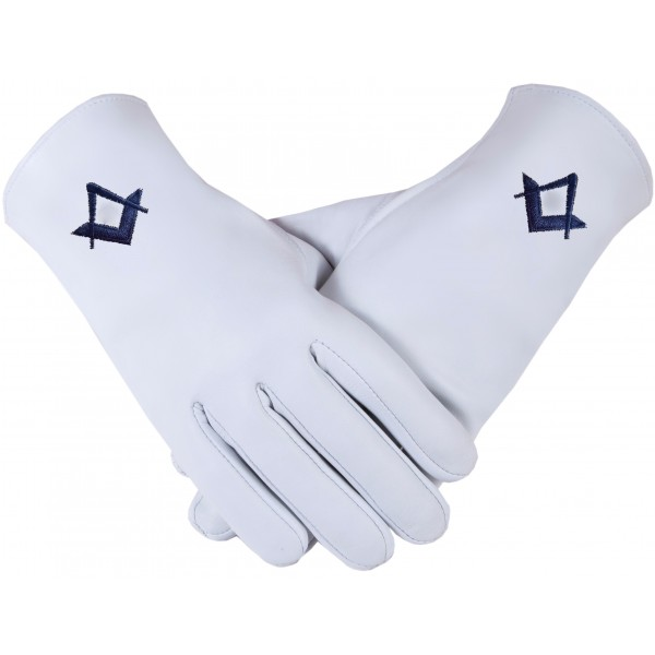 Freemason Masonic Gloves In Real Kid Leather With Blue S & C