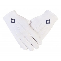 """Freemason Masonic Cotton Gloves in N.Blue S&C CPI """
