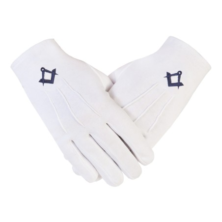"""Freemasons Masonic White Cotton Gloves in N.Blue S&C CPI """
