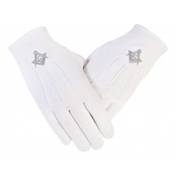Freemason Masonic Cotton Gloves in Silver S C & G CPI