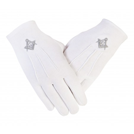 """Freemasons Masonic White Cotton Gloves in Silver SC&G CPI """