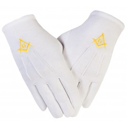 Freemason Masonic Gloves in Plain Cotton With Gold S C & G Symbol
