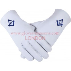 """Freemason Masonic Gloves In Real Kid Leather With Blue S C & G """
